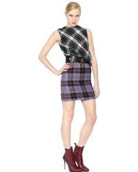 McQ by Alexander McQueen Draped Tartan Wool Dress - Lyst