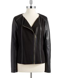 Calvin Klein Faux Leather Moto Jacket - Lyst