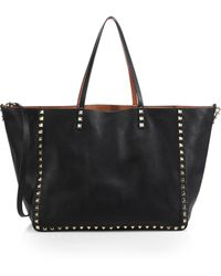 Valentino Reversible Studded Leather Tote - Lyst