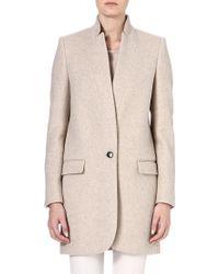 Stella McCartney Invertedlapel Cottonblend Coat Beige - Lyst