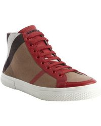 Burberry Red Leather And Nova Check Canvas 'Tess' High Top Sneakers - Lyst