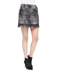 Andrew Marc X Richard Chai Distressed Plaid Shimmery Miniskirt - Lyst