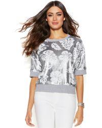 Michael Kors Michael Short-Sleeve Floral-Sequin Sweater - Lyst