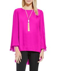 Vince Camuto | Pleat Sleeve High/low Blouse | Lyst