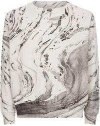 Saint Laurent | Distressed Marble Print Sweater | Lyst