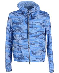 Moncler Camouflage-Print Hooded Jacket  blue - Lyst