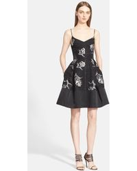 Prabal Gurung Flower Embroidered Organza A-Line Dress black - Lyst