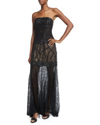 Sue Wong - Strapless Lace Illusion-hem Gown - Lyst