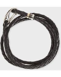 Paul Smith - Black Leather Wrap Bracelet - Lyst
