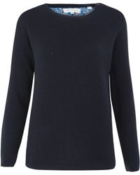 Chinti And Parker Navy Liberty Print Elbow Patch Cashmere Jumper - Lyst