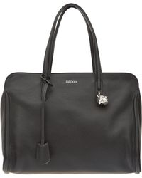 Alexander McQueen Black Padlock Ziparound Bag - Lyst