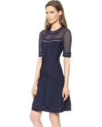 Hervé Léger Haylynn Dress with Sheer Detail Pacific Blue - Lyst