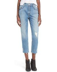 Tularosa - 'hailey' Distressed Straight Leg Crop Jeans - Lyst