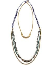 Serefina Beaded Layer Necklace Bluegold - Lyst