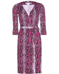 Diane Von Furstenberg New Julian Two Pythonprint Silkjersey Wrap Dress - Lyst