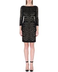 Roberto Cavalli Tigerprint Embroidered Dress Black - Lyst