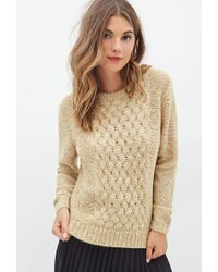 Forever 21 Cable Knit Front Sweater - Lyst