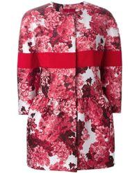 Moncler Gamme Rouge Flared Floral Jacquard Coat - Lyst
