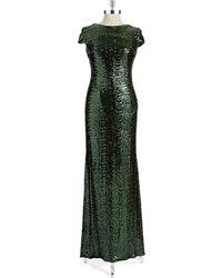 Badgley Mischka Cap Sleeved Sequin Gown - Lyst