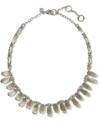 Banana Republic Silk and Satin Stone Delicate Necklace Light Grey - Lyst