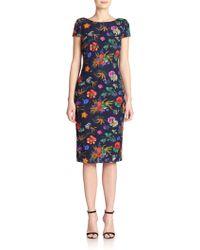 Badgley Mischka Floral Lace Sheath - Lyst