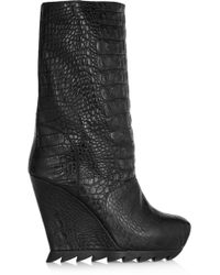 Camilla Skovgaard - Croc-effect Leather Wedge Boots - Lyst