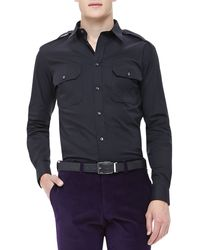 Ralph Lauren Black Label Poplin Military Shirt - Lyst