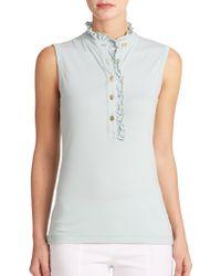 Tory Burch Lidia Sleeveless Polo Shirt gray - Lyst