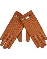 River Island Tan Chain Trim Leather Gloves - Lyst
