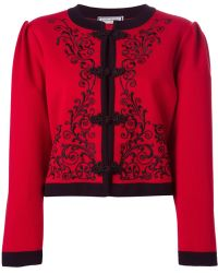 Yves Saint Laurent Vintage Embroidered Cropped Cardigan - Lyst