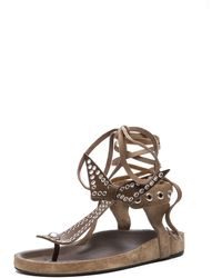 Isabel Marant Edris Calfskin Velvet Leather Sandals - Lyst