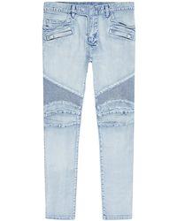 Balmain Ripped Slim Biker Jeans - Lyst