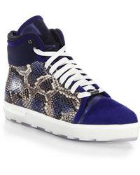Jimmy Choo Bronx Mixed-Media High-Top Sneakers - Lyst