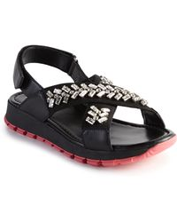 Prada | Crystal-embellished Nylon & Leather Sandals | Lyst