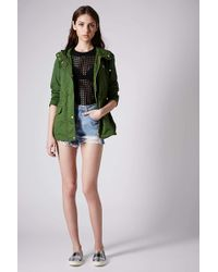 Topshop Hooded Short Parka Jacket in Green | Lyst