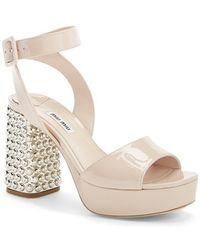 Miu Miu Jeweled Heel Ankle Strap Platform Sandal beige - Lyst