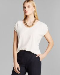 Max Mara Top Mendoza Sandwashed Silk Crepe De Chine Short Sleeve - Lyst