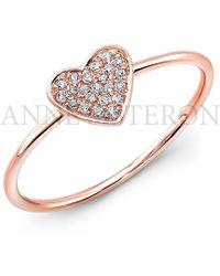 Anne Sisteron 14Kt Rose Gold Diamond Heart Ring - Lyst