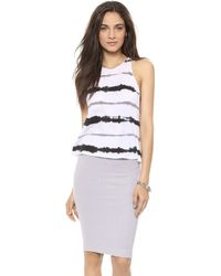 Enza Costa Cropped Sheath Tank Cenere Stripe - Lyst