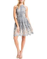 Cynthia Steffe Judith Sleeveless Embroidered Pleated-Skirt Halter Dress - Lyst