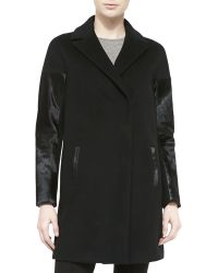 Elie Tahari Louisa Coat W Calf Hair Sleeves - Lyst