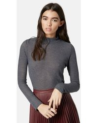 Topshop Rib Knit Funnel Neck Top gray - Lyst