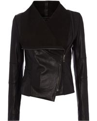 Label Lab Asymmetric Zip Leather Jacket - Lyst