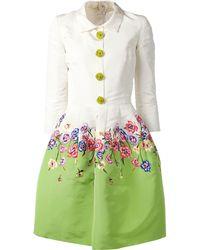 Oscar de la Renta Floral Embroidered Snap Dress green - Lyst