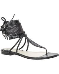 Leon Max - Verde - Woven Leather Flat Sandals - Lyst