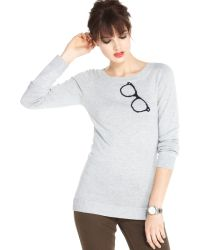 Maison Jules Long Sleeve Graphic Intarsia Knit - Lyst