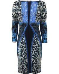 Roberto Cavalli Three-Quarter Print Dress blue - Lyst