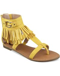 G by Guess Women'S Hazed Fringe Gladiator Thong Sandals - Lyst