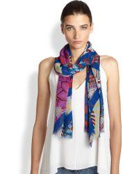 Etro Floral Chevron Silk Scarf - Lyst