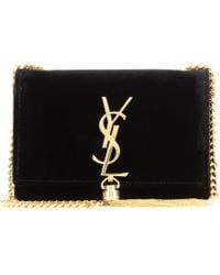 Saint Laurent Petit Satchel Monogramme Velvet Shoulder Bag - Lyst